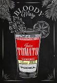 stock photo of mary  - Bloody mary cocktail in vintage style stylized drawing with chalk on blackboard - JPG