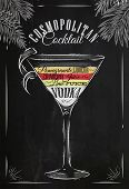 stock photo of cosmopolitan  - Cosmopolitan cocktail in vintage style stylized drawing with chalk on blackboard - JPG
