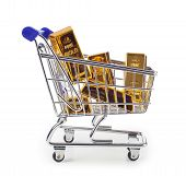stock photo of white gold  - Five gold bars in shopping cart isolated on white background - JPG