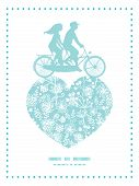 pic of tandem bicycle  - Vector blue and white lace garden plants couple on tandem bicycle heart silhouette frame pattern greeting card template graphic design - JPG