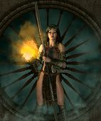 pic of woman boots  - 3d computer graphics of a young woman with a fantasy outfit and a weapon - JPG