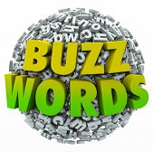 picture of slang  - Buzzwords 3d words on a ball of jumbled letters to illustrate jargon - JPG