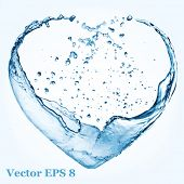 stock photo of blue  - Valentine heart made of blue water splash - JPG