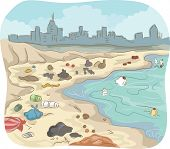pic of polluted  - Illustration of a Polluted Shore Littered With All Sorts of Trash - JPG