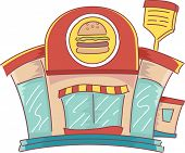 foto of junk food  - Illustration of the Facade of a Fast Food Restaurant - JPG