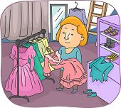 picture of wardrobe  - Illustration of a Wardrobe Mistress Returning Previously Used Costumes - JPG