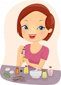 picture of essential oil  - Illustration of a Girl Mixing Essential Oils	 - JPG