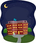 stock photo of school building  - Illustration of a School Building Operating at Night - JPG