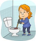 picture of plunger  - Illustration of a Girl Using a Plunger to Unclog a Toilet Bowl - JPG