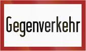 pic of traffic rules  - German traffic sign additional panel from Gegenverkehr - JPG