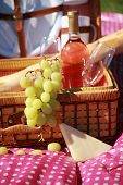 picture of grape  - A beautiful Picnic Basket featuring fresh Green Grapes - JPG