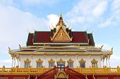 foto of bannister  - colorful buddhist monastery outside Hampton Minnesota ornamented with gold leafing spire and balustrade near hampton minnesota - JPG