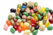 image of jelly beans  - mix of fruit jelly beans on white background - JPG