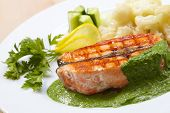 stock photo of salmon steak  - salmon steak with cauliflower - JPG