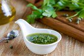 stock photo of italian parsley  - Homemade Italian Salsa verde by fresh ingredients - JPG