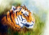 foto of airbrush  - beautiful airbrush painting of a mighty fierce tiger head on a soft toned abstract gres background - JPG