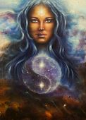 picture of guardian  - beautiful painting on canvas of a space woman goddess Lada as a mighty loving guardian with symbol jin jang - JPG