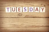 picture of tuesday  - The word TUESDAY written in wooden letterpress type - JPG