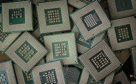 foto of cpu  - A lot of obsolete cpu units as electronic waste - JPG