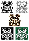 pic of celtic  - Celtic mythical dogs and wolves ornaments in tribal style - JPG
