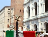picture of vicenza  - italian flag of army musical band and the Palladian Basilica in Vicenza - JPG