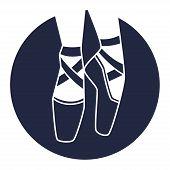 foto of ballet shoes  - Emblem of dance studio with ballet pointe shoes - JPG