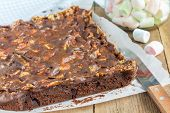 image of brownie  - Homemade brownies with marshmallow on the wooden table - JPG