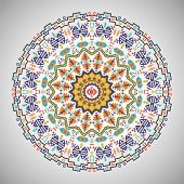 picture of aztec  - Ornamental colorful round geometric pattern in aztec style - JPG