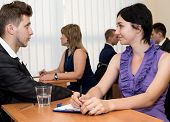 foto of interview  - Job interview. Many business people are passing interview at the office ** Note: Shallow depth of field - JPG