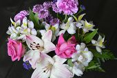 picture of carnation  - Colorful bouquet of flowers roses lilies carnations - JPG
