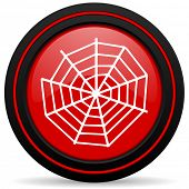 stock photo of spider web  - spider web red glossy web icon  - JPG
