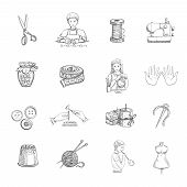 pic of tailoring  - Sketch handmade hand drawn icons set with tailoring and sewing equipment isolated vector illustration - JPG