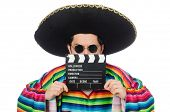 pic of clapper board  - Funny mexican in poncho with clapper - JPG