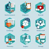 stock photo of medical staff  - Medical concepts set with research diagnosis first aid icons isolated vector illustration - JPG