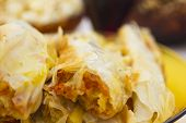 foto of pumpkin pie  - Delicious fresh baked pumpkin pie close up  - JPG