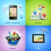 stock photo of gps  - Navigation design concept set with gps routing city map icons isolated vector illustration - JPG