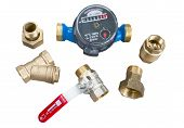 stock photo of valves  - water meter valve filter check valve and union nut - JPG