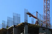 stock photo of erection  - Erection of reinforced concrete building with cast - JPG