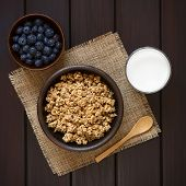 stock photo of cereal bowl  - Dried berry and oatmeal breakfast cereal in rustic bowl with glass of milk and fresh blueberries photographed overhead on dark wood with natural light - JPG