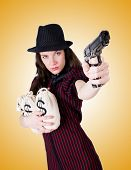 stock photo of handgun  - Woman gangster with handgun on white - JPG