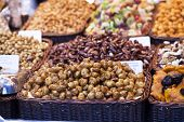 pic of dry fruit  - Nuts and almonds and dried fruits for sale at the market - JPG