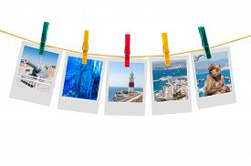 stock photo of clotheslines  - Five photos of Gibraltar on clothesline isolated on white background with clipping path - JPG