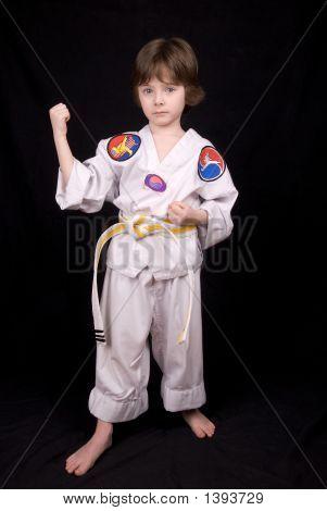 Постер, плакат: Мальчик носить боевых искусств Одежда, холст на подрамнике