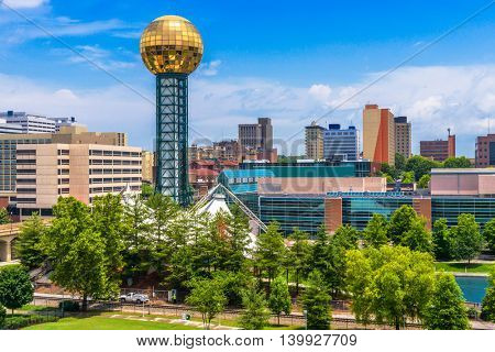 Knoxville, Tennessee, USA downtown at World\'s Fair Park.