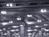Industrial Lights on Commercial Building Ceiling
