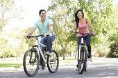 Постер, плакат: Молодая пара верхом велосипед в парке