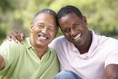 stock photo of mature adult  - Father With Adult Son In Park - JPG