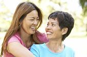 stock photo of asian woman  - Senior Woman With Adult Daughter In Park - JPG