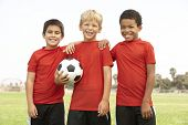 picture of young boy  - Young Boys In Football Team - JPG