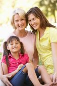 stock photo of mother daughter  - Grandmother With Mother And Daughter In Park - JPG
